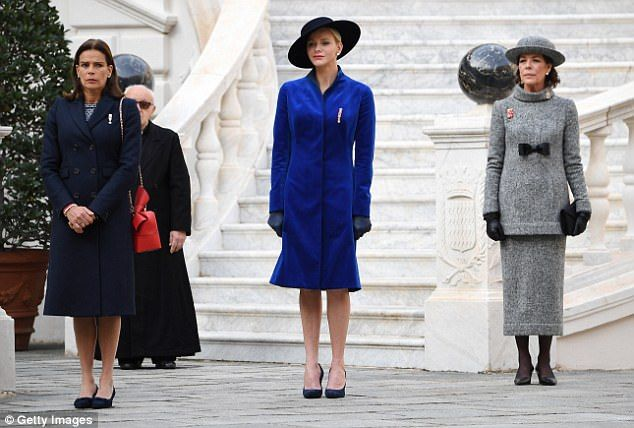 Charlene was joined bysister-in-laws Princess Stephanie of Monaco (left) and Princess Caroline Nov 2017