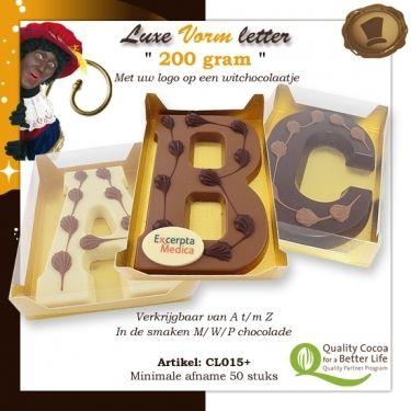 Chocolade Vormletter met logo 200 gram /  Te bestellen vanaf 50 stuks