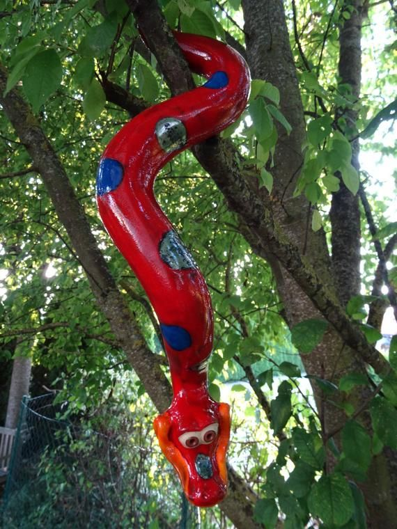 Ceramic Tree Snake 52 Cm For Hanging Frostproof Unique Red Container Flowers Ceramics Flower Pots Outdoor