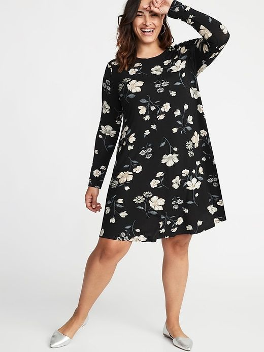 603e0fdf1a2 Old Navy Women s Plus-Size Jersey Swing Dress Black Floral Plus Size 4X