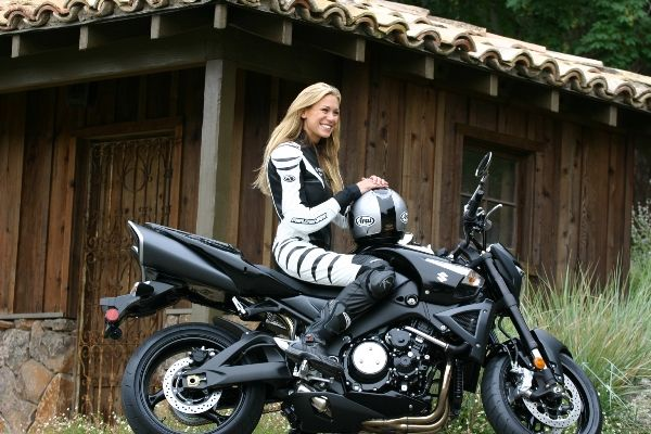 Leslie Porterfield, who was recently named to the Guinness Book of World Records as the world's fastest woman on a motorcycle at over 232 mph.  Now that's my kind of woman!