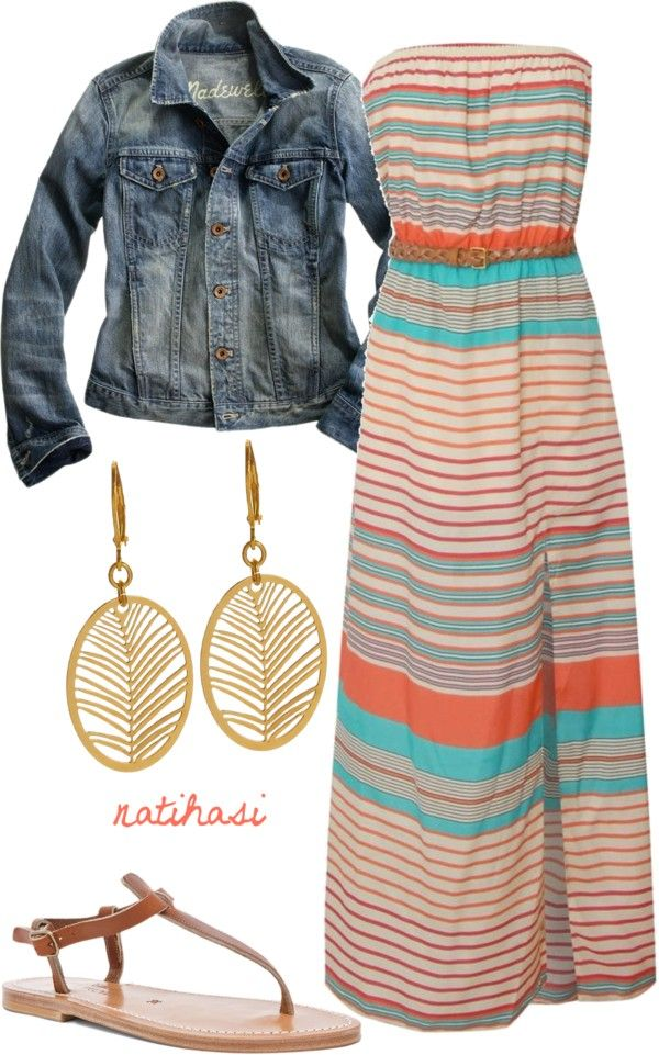 """Maxi Dress Simple Spring Summer Outfit"" by natihasi on Polyvore"