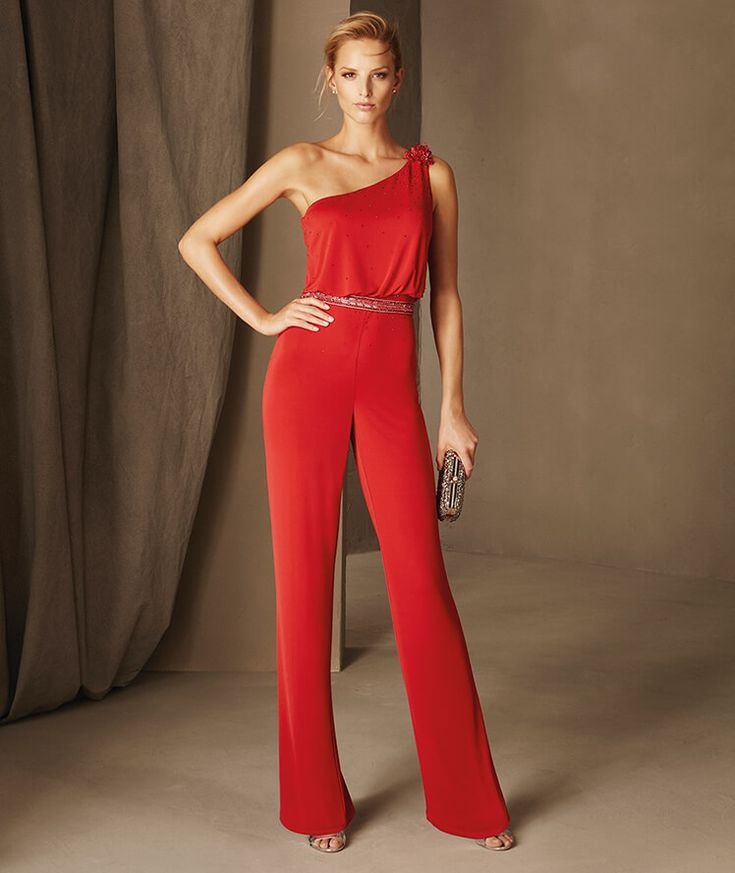 Berlin - Cocktail jumpsuit with an asymmetric neckline knotted over one shoulder and gemstones