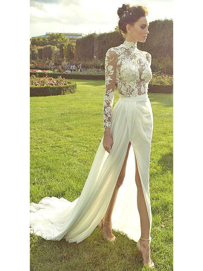 afa57a4305d89 High Neck Vintage Wedding Dresses Long Sleeve Lace Beach Wedding Dress  AWD1148