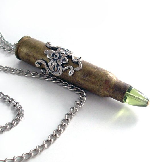 Recycled Bullet Necklace Ammo Jewelry  Silver by TrashAndTrinkets, $38.00