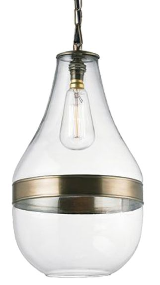Endon 'Montoni' Clear Glass Pendant With Antique Brass Band - EH-MONTONI None