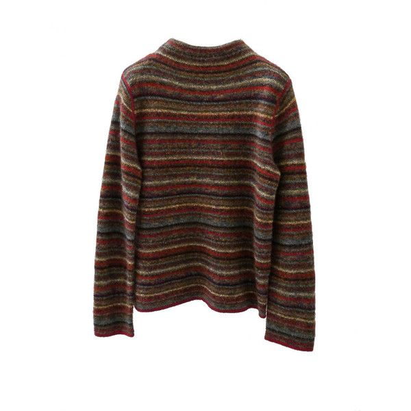 SC003 90s Jones New York Strawberry Knit Wool Pullover ❤ liked on Polyvore featuring tops, sweaters, stripe, striped mock turtleneck, mock turtle neck sweater, striped turtleneck, brown turtleneck and mock turtleneck sweater