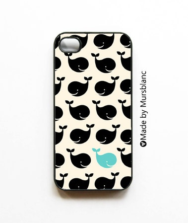 Whale, whale, whale... iPhone case with black and blue ocean whales on white background
