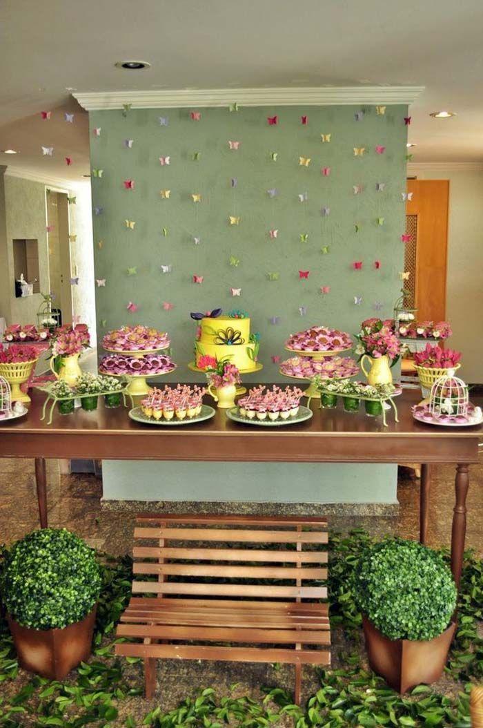 Indoor butterfly garden dessert table love the greenery for Indoor birthday decoration ideas