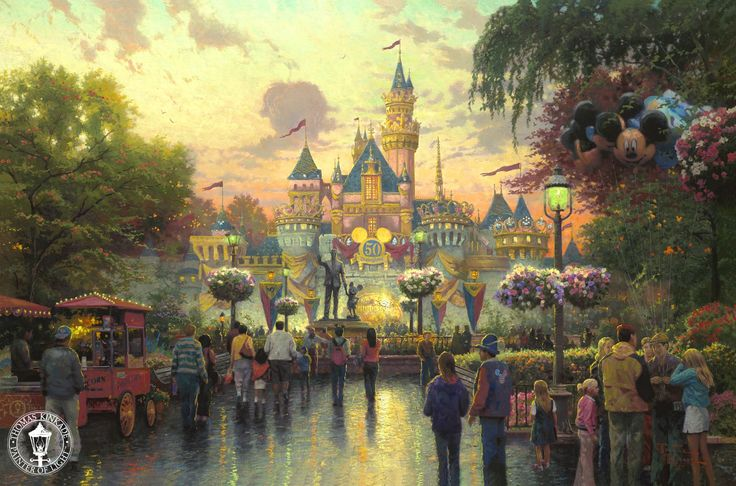Disneyland Anniversary Kinkade Mickey Mouse Thomas Disney Painting Phone Wallpapers