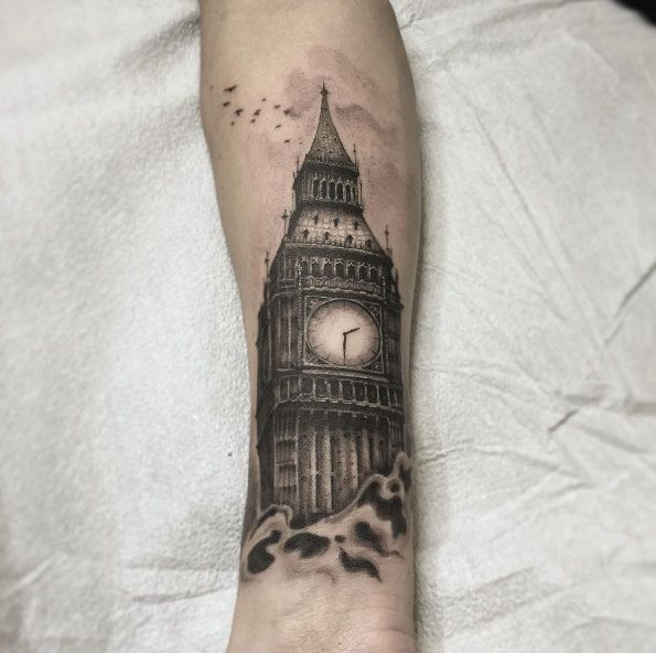 Big ben tattoo by Eddie Lee