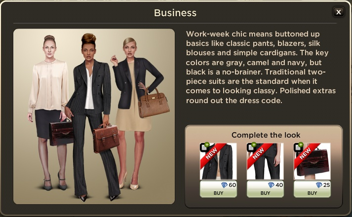 Business: Workweek chic means buttoned up basics like classic trousers, blazers, silk blouses and simple cardigans. The key colours are grey, camel and navy, but black is a no-brainer. Traditional two-piece suits are the standard when it comes to looking smart. Polished extras round out the dress code.