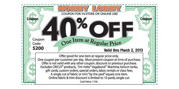 Printable Hobby Lobby Coupon – 40 % Off