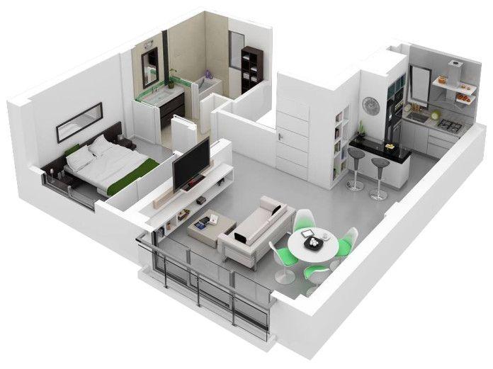 195 best 1 bedroom floor plans images on Pinterest Architecture - one bedroom house plans