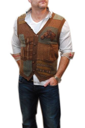 Polo Ralph Lauren Mens Equestrian Cashmere Wool Sweater Vest Brown Green Large