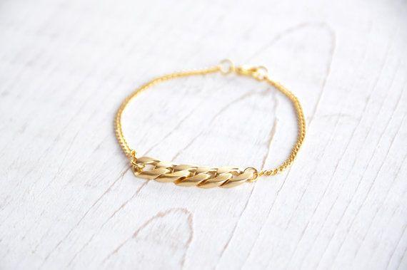 Tiny Gold Bracelet Thick Gold Chain Bracelet  by noaavneri on Etsy, $18.00