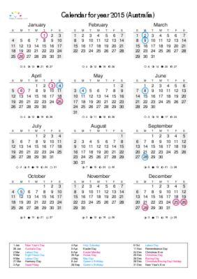 General 2015 Australian Calendar