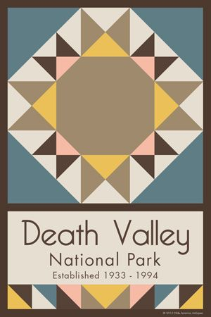 Death Valley National Park Quilt Block designed by Susan Davis. Susan is the owner of Olde America Antiques and American Quilt Blocks She has created unique quilt block designs to celebrate the National Park Service Centennial in 2016. These are the first quilt blocks designed specifically for America's national parks and are new to the quilting hobby.