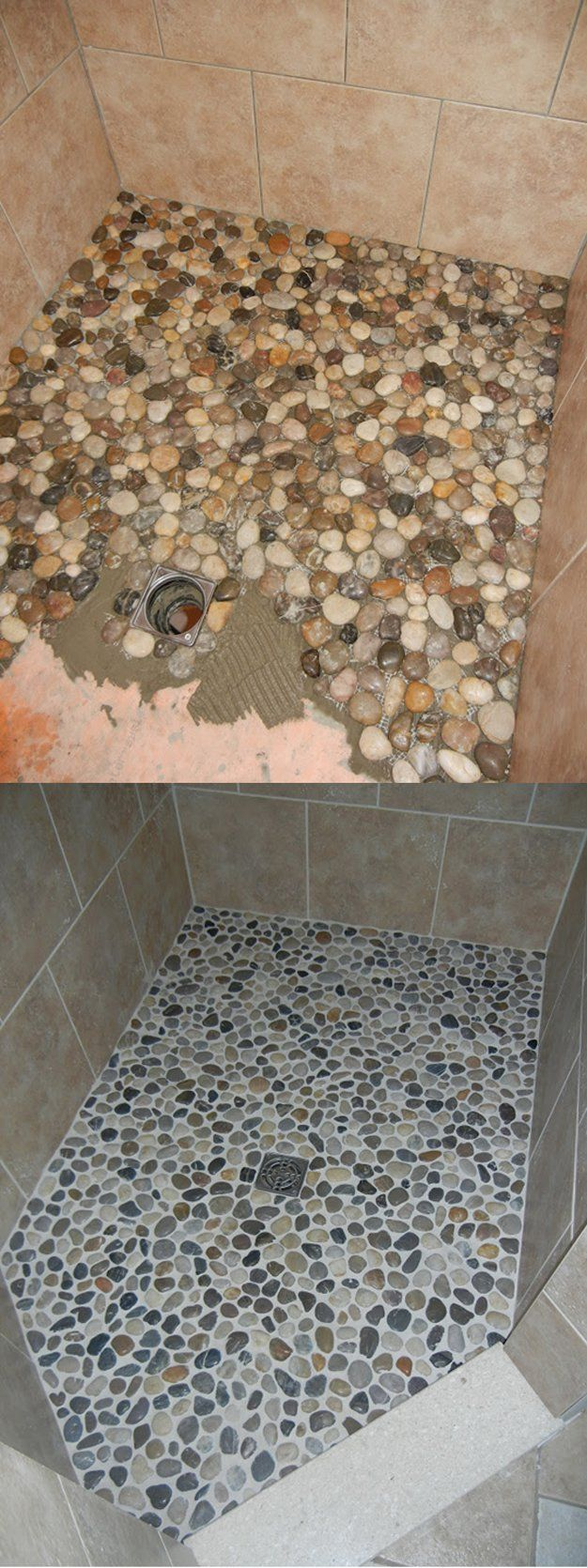 Give your shower floor an upgrade river rocks and grout | DIY Bathroom Makeover Project | http://diyready.com/incredible-diy-bathroom-makeover/