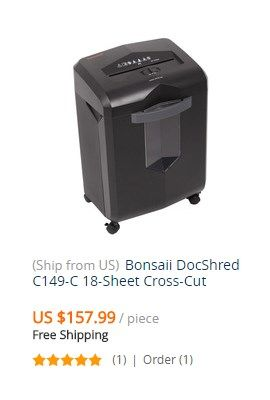 Bonsaii Docshred C149 C 18 Sheet Cross Cut Paper Credit Card Shredder