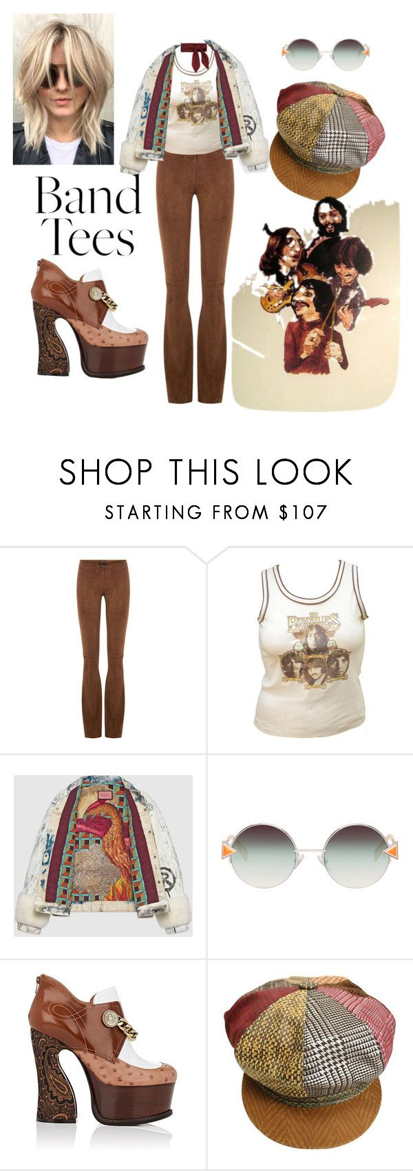 """""""vintage Beatles band Tee"""" by effortless-and-natural ❤ liked on Polyvore featuring SLY 010, JULIANNE, Gucci, Fendi, Maison Margiela, Roberto Cavalli and vintage"""