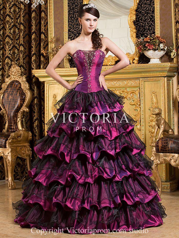 Formal Black Purple Ball Gowns Long Taffeta Sweetheart Prom Dress-US$207.99- StyleP1176-Victoria Prom