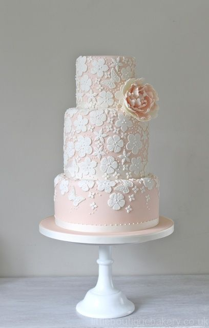 Lace Applique Wedding Cake by the Little Boutique Bakery