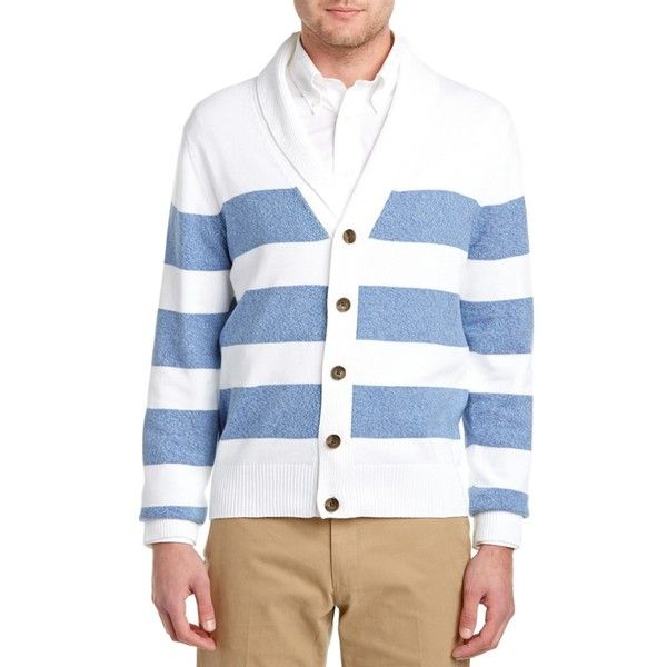 Brooks Brothers Brooks Brothers Shawl Collar Cardigan (397796301) ($62) ❤ liked on Polyvore featuring men's fashion, men's clothing, men's sweaters, sweaters, white, brooks brothers mens sweaters, mens shawl collar cardigan sweater, mens shawl collar sweater, mens cotton cardigan sweaters and mens white sweater