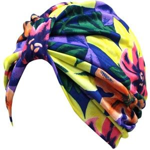 Blue Purple Yellow Multicolor Tropical Print Turban Hat Sun Cap