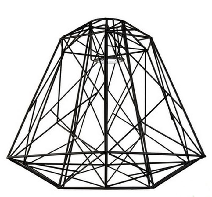Modern Industrial Geometric Black Wire Cage Light Shade