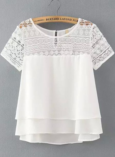 White Lace Short Sleeve Loose Chiffon Blouse 17.67