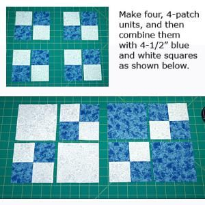 It's not a typical Double Four Patch quilt block pattern. Instead, this version shows you how to make blocks with reverse pathways.: Finish Sewing the Double Four-Patch Quilt Blocks