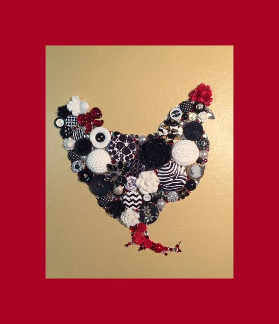 CHICKEN 27 8x10 Button Art Button Artwork Buttons by CherCreations