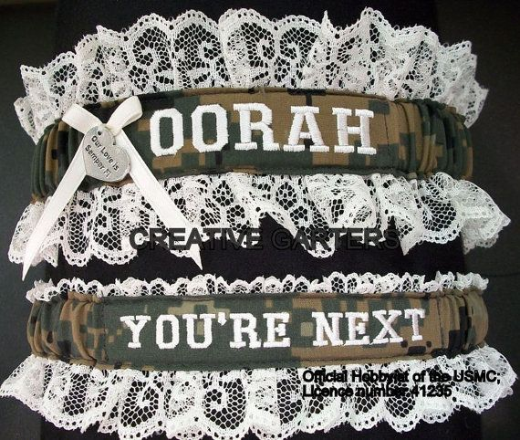 US Marine Set With OORAH Embroidered On It In Marpat Print Fabric And Throw  Garter Thatu0027s