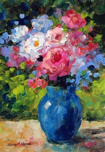 """Daily Paintworks - """"Bouquet"""" - Original Fine Art for Sale - © Nancy F. Morgan"""