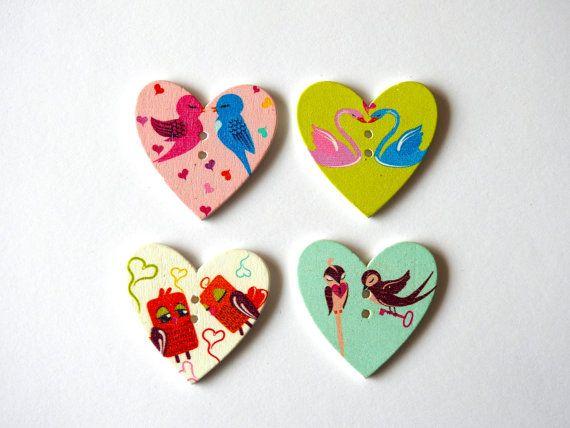 Wooden Button Heart - 4 pcs
