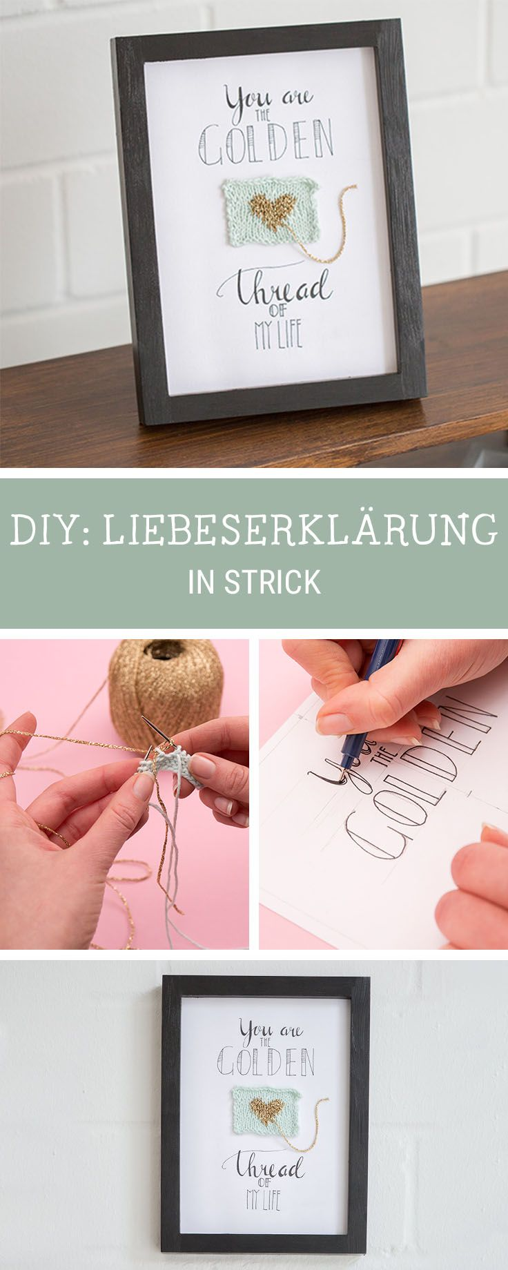 diy anleitung handlettering wandbild mit strickst ck selber machen via. Black Bedroom Furniture Sets. Home Design Ideas