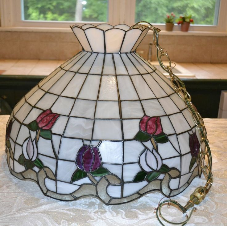 Vintage Stained Glass Light Fixture Tiffany Style Rose Boarder Chandelier - 15 Best Hanging Lights Images On Pinterest Hanging Lights, Light