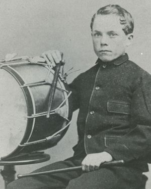 A musician for the 18th U.S Infantry, Jimmy Doyle poses with his drum. Doyle was wounded at the Battle of Chickamauga (U.S. Army Heritage and Education Center)
