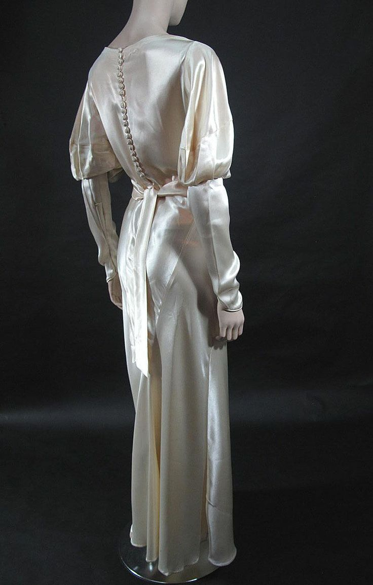 1933 candlelight silk charmeuse wedding gown vintage for Silk charmeuse wedding dress