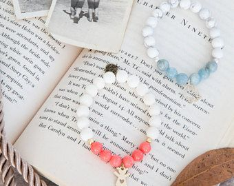 Cute aquamarine & howlite semi precious stones mala bracelet, silver charm, yoga gift, meditation, present, ideal for new mommys!