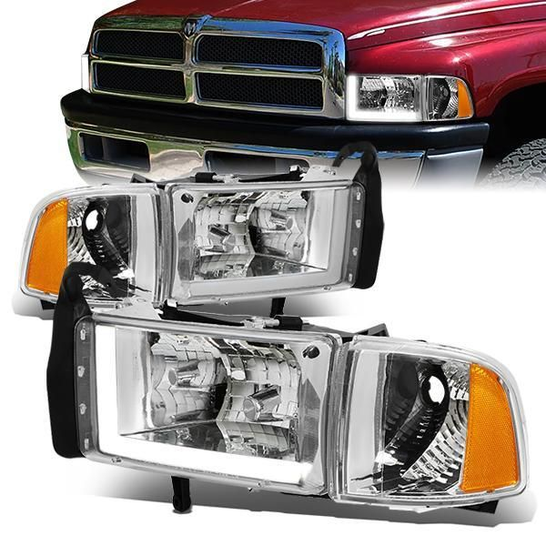94 02 Dodge Ram 1500 2500 3500 Led Drl Headlights Chrome Housing Amber Corner Dodge Ram 1500 Dodge Ram Ram 1500