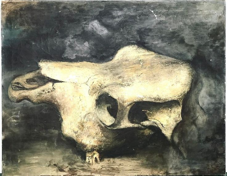 "Amazingly haunting still life of steer skull. Vintage oil on canvas by Robert Chewy. Unframed. 23""H x 27""W. For $ale. $370.00. Free Shipping in US. Purchase is easy . Simply DM your email address and shipping address. I send invoice. You pay invoice. I pack and ship."