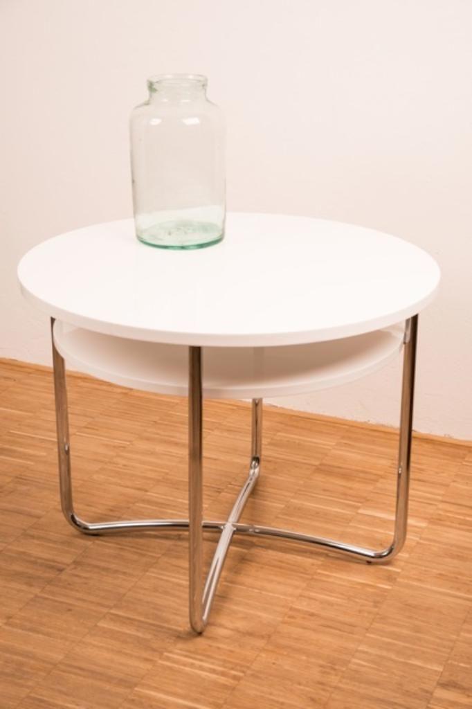 Bauhaus Tisch Replik Modell ST Komplett Restauriert Und Weiss Lackiert Stahlrohr Verchromt Platte Aus Holz Restauration In Den Jahren Durch Die Firma