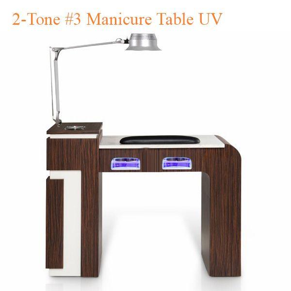 2-Tone #3 Manicure Table UV - White Fino & Guayanna Rose with Fan - 42 inches
