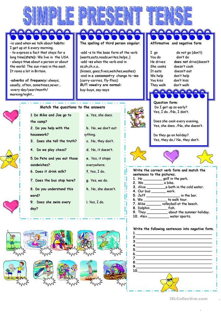 Present simple tense worksheet Free ESL printable