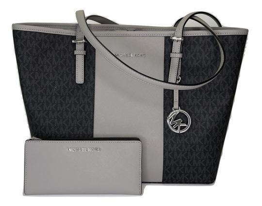 33ba56ea1f0f Michael Kors Jet Set Travel Md Carryall Tote and Matching Wallet Signature  Mk Black Ash Grey Center Stripe Leather Shoulder Bag.