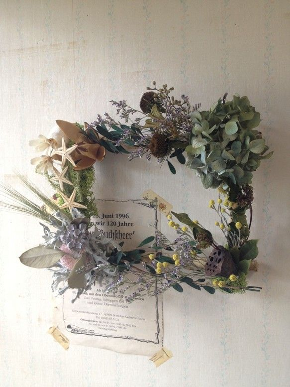 Green picture frame * of dried flowers frame arrangement * | Flower lease | Kimura plant work shop | handmade mail order, sales Creema