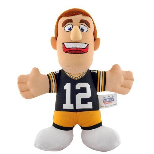 "NFL Green Bay Packers Aaron Rodgers 7-Inch Plush Doll by Bleacher Creatures. $7.80. Contains One 7-Inch Player Plush. Recommended ages 3 and up. Made in China. Measures 7"" in Height. Made of 100% Polyester Fiber. Bring your child's favorite NFL player home!  This Aaron Rodgers plush doll is the perfect toy for your young fan.  Bleacher Creatures takes your favorite Packers player and transforms him into a lovable character to play with - encouraging fun, inspirati..."