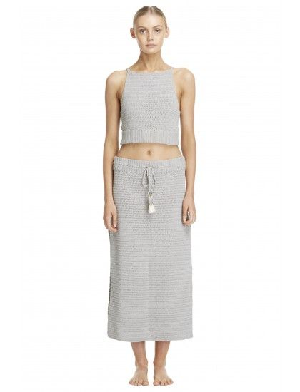 Crochet Midi Skirt with side split detailing, elasticated waistband and adjustable tie.